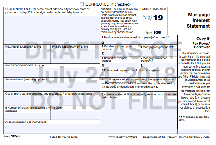 2019 draft form 1098 Copy B for mortgage interest reporting