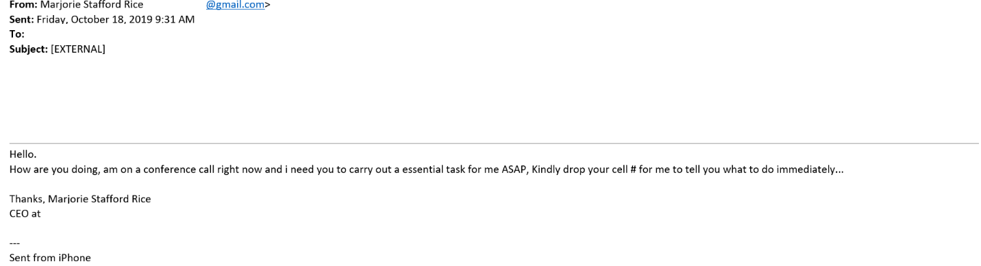 example of CEO phishing email