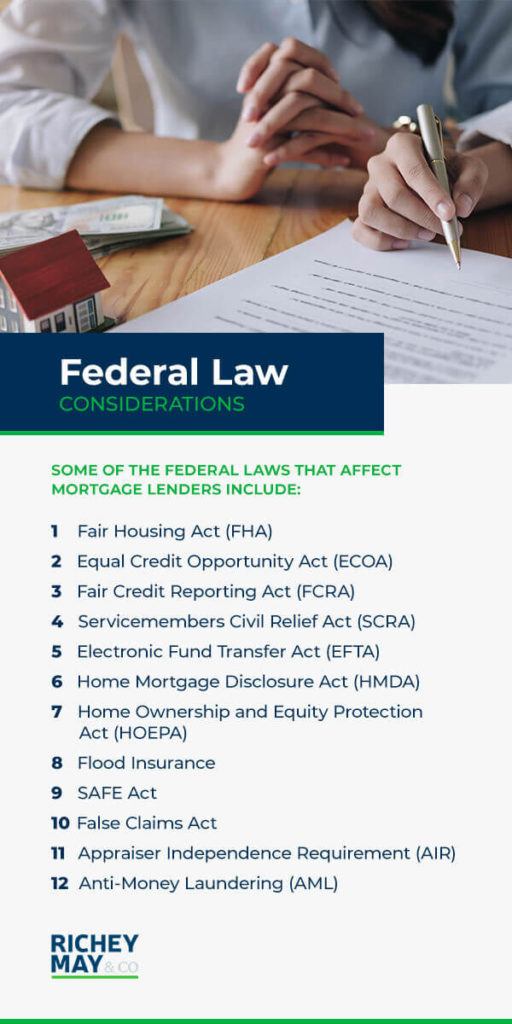 12 Federal Law Considerations that affect mortgage lenders